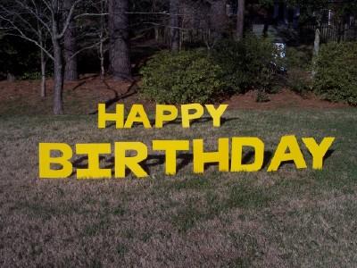 Va lawn greetings va yard cards virginia birthday signs for Happy birthday yard letters