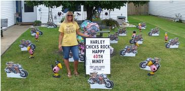 Pink Crow and Motorcycle Birthday Yard Display