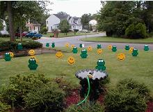 Frogs and Smileys Lawn Greeting