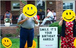 Smiley Birthday Lawn Greeting Rental